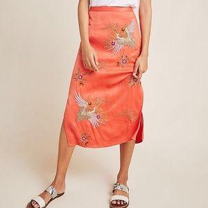 Maeve (Anthropologie) Crane-Embroidered Slip Skirt